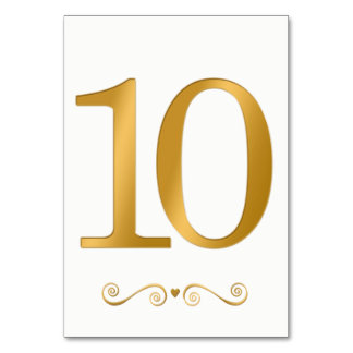 Elegant Bright Gold Faux Metallic Number 10 Card