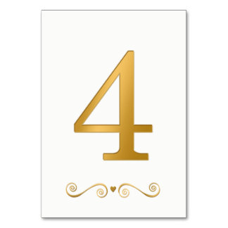 Elegant Bright Gold Faux Metallic Number 4 Card