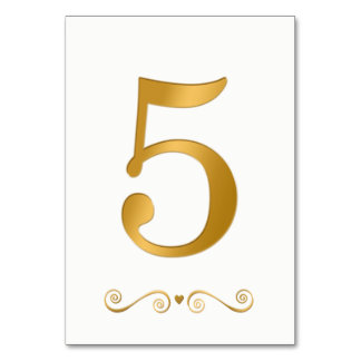 Elegant Bright Gold Faux Metallic Number 5 Card