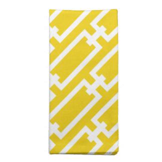 Elegant Bright Yellow Geometric Links Pattern Napkins