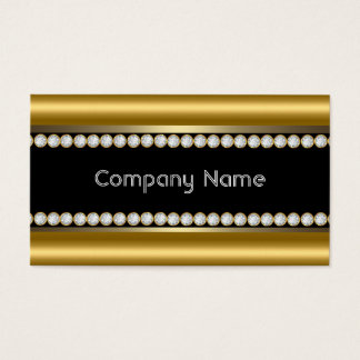 Elegant Bronze Gold Black Diamond Trim Business Card