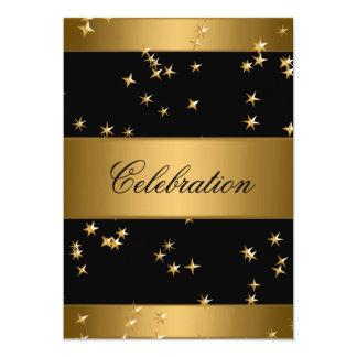 Elegant Bronze Gold Metal Stars Black Event Card