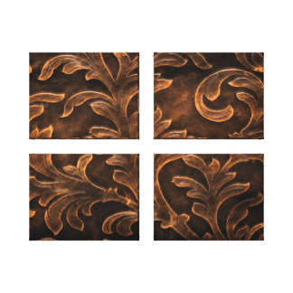 Elegant Bronze Scroll Leaf Quad Canvas Print