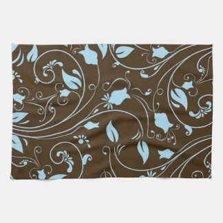 Elegant Brown and Baby Blue Floral Pattern Kitchen Towel