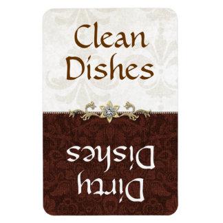 Elegant Brown and Ivory Damask Dishwasher Magnet