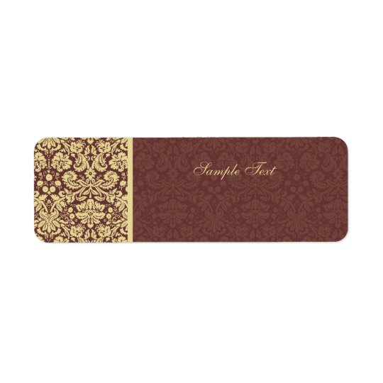 Elegant Brown & Beige Damask Colour Select Label Return Address Label