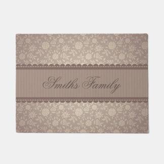 Elegant Brown Beige Floral Customized Text Doormat