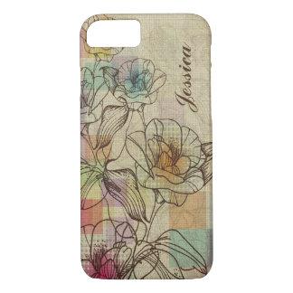 Elegant Brown & Beige Hand Drawn Rustic Flowers iPhone 7 Case