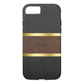 Elegant brown & Black Leather Gold Accents iPhone 7 Case