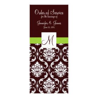 Elegant Brown Damask Wedding Church Programs Personalized Invite