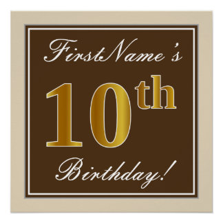 Elegant, Brown, Faux Gold 10th Birthday + Name Poster