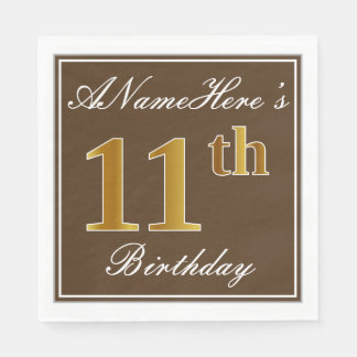 Elegant Brown, Faux Gold 11th Birthday + Name Paper Napkin