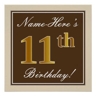 Elegant, Brown, Faux Gold 11th Birthday + Name Poster