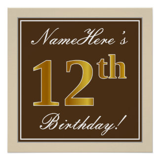 Elegant, Brown, Faux Gold 12th Birthday + Name Poster
