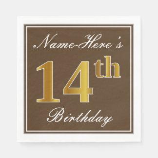 Elegant Brown, Faux Gold 14th Birthday + Name Disposable Napkin