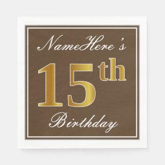 Elegant Brown, Faux Gold 15th Birthday + Name Napkin