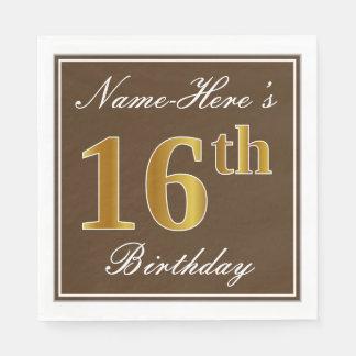 Elegant Brown, Faux Gold 16th Birthday + Name Disposable Napkin