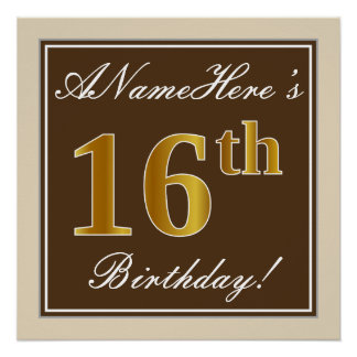 Elegant, Brown, Faux Gold 16th Birthday + Name Poster