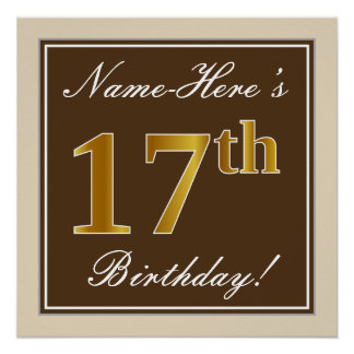 Elegant, Brown, Faux Gold 17th Birthday + Name Poster
