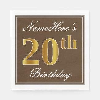 Elegant Brown, Faux Gold 20th Birthday + Name Paper Napkins