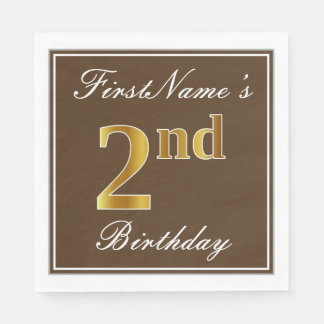 Elegant Brown, Faux Gold 2nd Birthday; Custom Name Paper Napkins