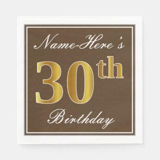 Elegant Brown, Faux Gold 30th Birthday + Name Disposable Napkin