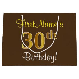 Elegant, Brown, Faux Gold 30th Birthday + Name Large Gift Bag