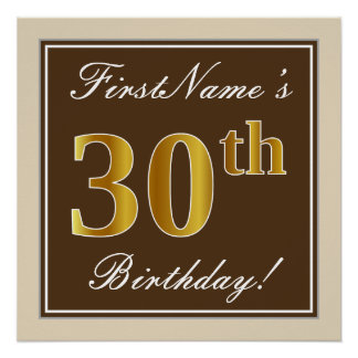 Elegant, Brown, Faux Gold 30th Birthday + Name Poster