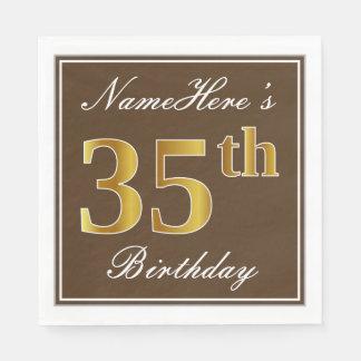 Elegant Brown, Faux Gold 35th Birthday + Name Disposable Napkins