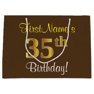 Elegant, Brown, Faux Gold 35th Birthday + Name Large Gift Bag