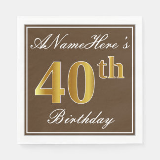 Elegant Brown, Faux Gold 40th Birthday + Name Disposable Napkin