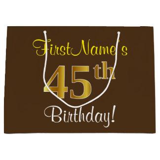 Elegant, Brown, Faux Gold 45th Birthday + Name Large Gift Bag