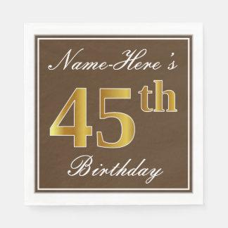 Elegant Brown, Faux Gold 45th Birthday + Name Napkin