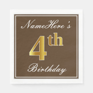 Elegant Brown, Faux Gold 4th Birthday; Custom Name Disposable Napkins