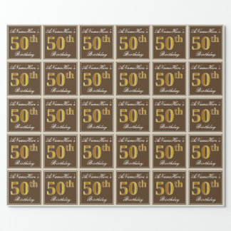 Elegant, Brown, Faux Gold 50th Birthday + Name Wrapping Paper