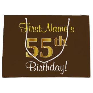 Elegant, Brown, Faux Gold 55th Birthday + Name Large Gift Bag