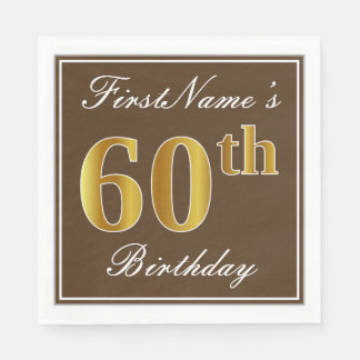Elegant Brown, Faux Gold 60th Birthday + Name Paper Napkin