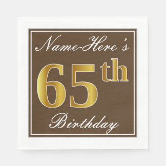 Elegant Brown, Faux Gold 65th Birthday + Name Paper Napkins