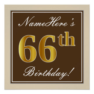 Elegant, Brown, Faux Gold 66th Birthday + Name Poster