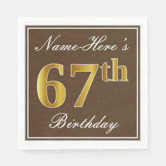 Elegant Brown, Faux Gold 67th Birthday + Name Disposable Napkin