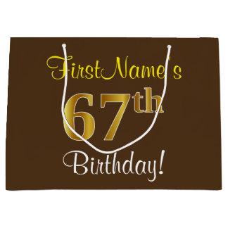 Elegant, Brown, Faux Gold 67th Birthday + Name Large Gift Bag