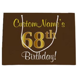 Elegant, Brown, Faux Gold 68th Birthday + Name Large Gift Bag