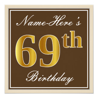 Elegant, Brown, Faux Gold 69th Birthday + Name Card