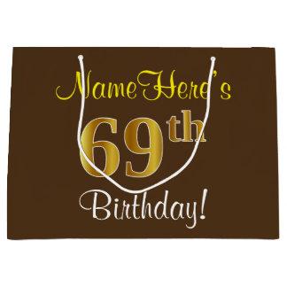 Elegant, Brown, Faux Gold 69th Birthday + Name Large Gift Bag