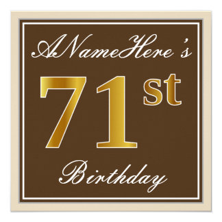 Elegant, Brown, Faux Gold 71st Birthday + Name Card