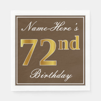 Elegant Brown, Faux Gold 72nd Birthday + Name Disposable Napkins
