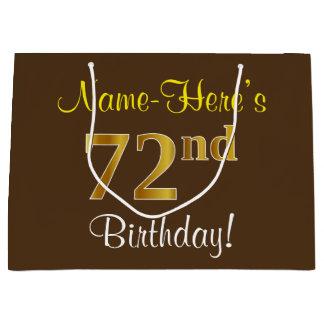 Elegant, Brown, Faux Gold 72nd Birthday + Name Large Gift Bag
