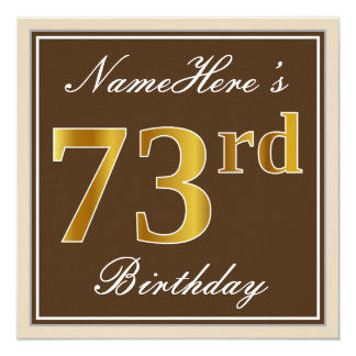 Elegant, Brown, Faux Gold 73rd Birthday + Name Card