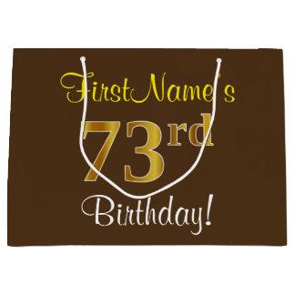 Elegant, Brown, Faux Gold 73rd Birthday + Name Large Gift Bag