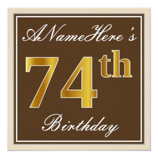 Elegant, Brown, Faux Gold 74th Birthday + Name Card